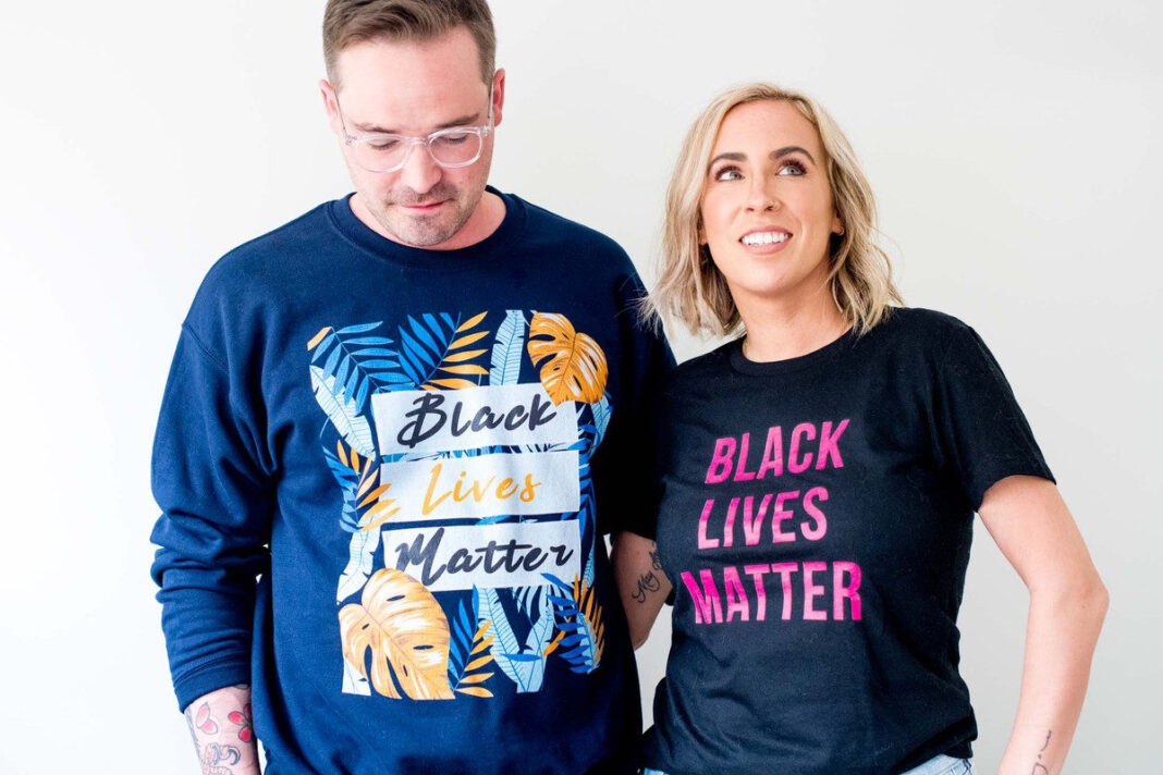 We're highlighting cool Black Lives Matter t-shirts from Black-owned brands, (most small businesses, some woman-owned, some customizable.) #GoodTrouble
