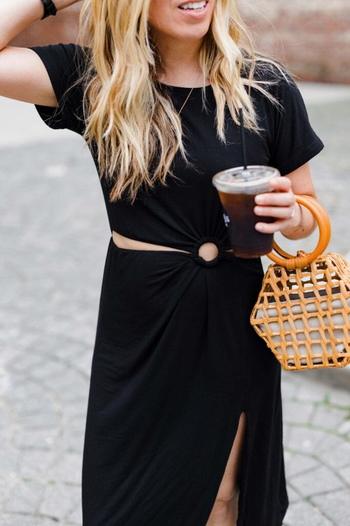 If you're leaning less Hot Girl Summer & more Eat The Tacos Summer...maybe get this black midi t-shirt dress with cut-outs + a slit. You'll have both.