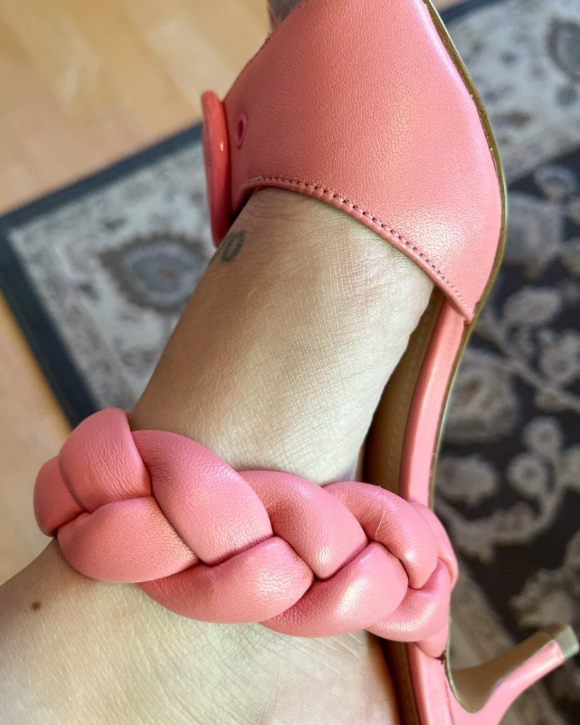 But when I saw the pink Coach Mollie Sandals with the teeniest heel, I couldn't resist adopting the poor kitten (heels) & taking them home.
