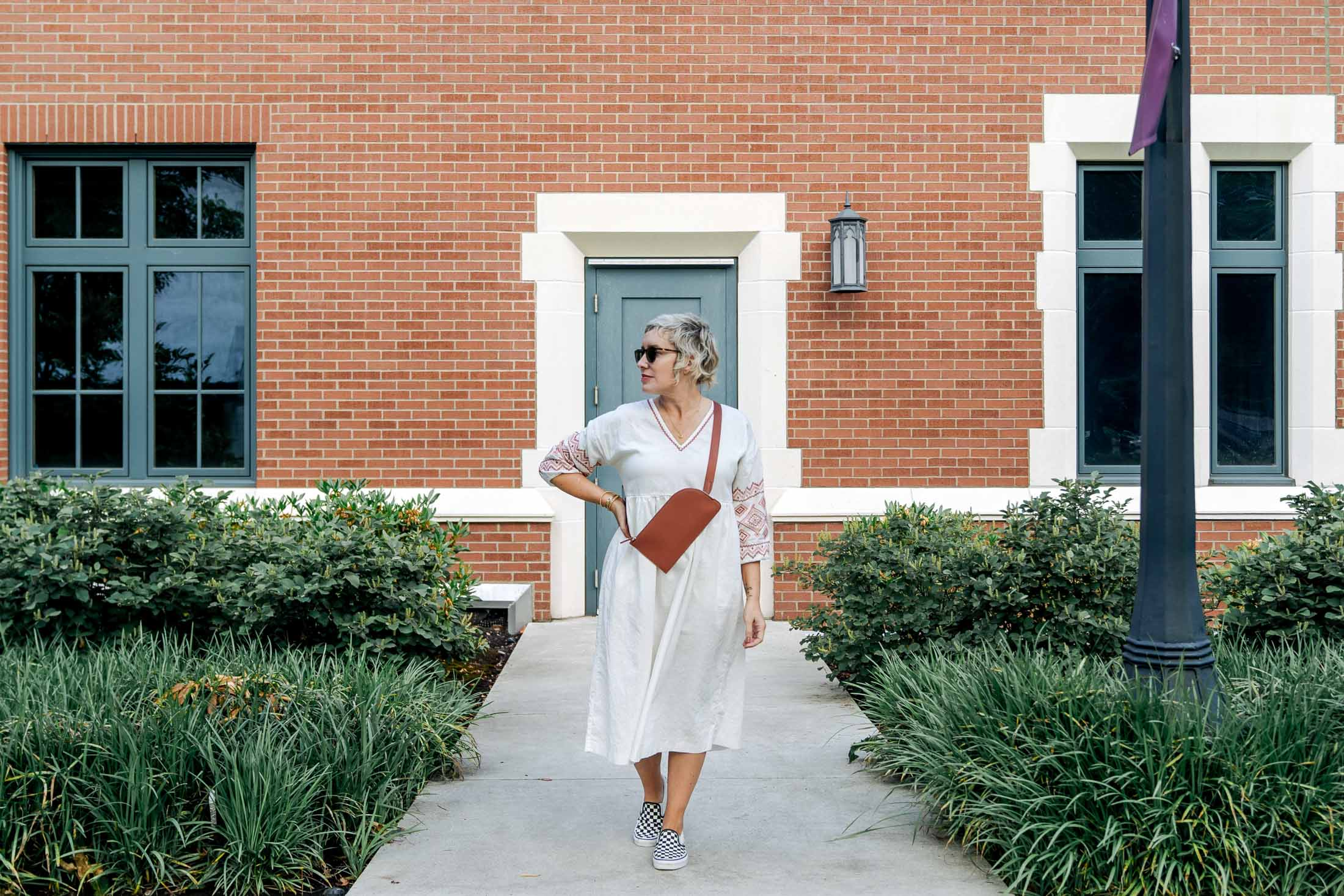 So I put this pretty little long sleeve midi dress together with 3 of my go-to shoes + bags for a few summer outfit ideas (think clogs, Birks, Vans).