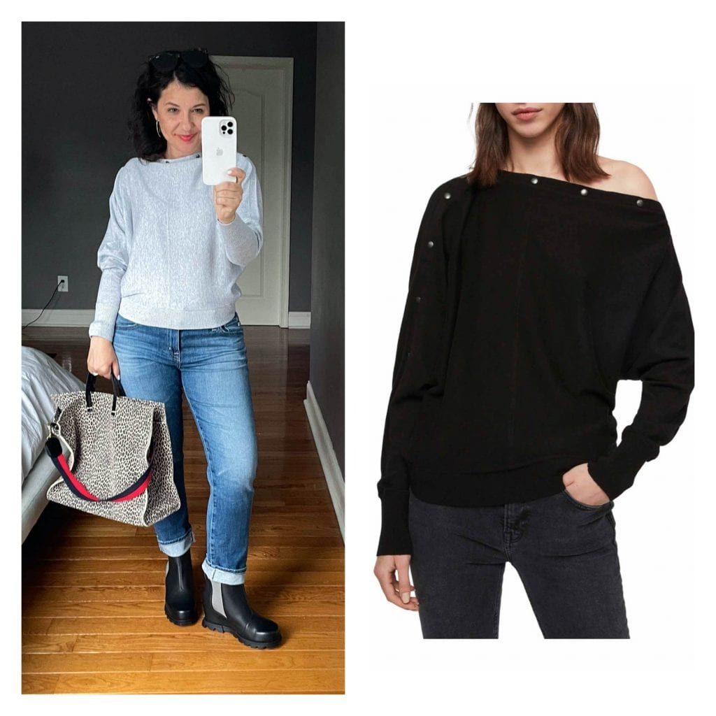 This AllSaints Top is technically a sweater, but it feels more like a top/t-shirty/sweatshirt to me. It's fairly lightweight, soft, not at all scratchy, and drapes more like a shirt than a sweater.