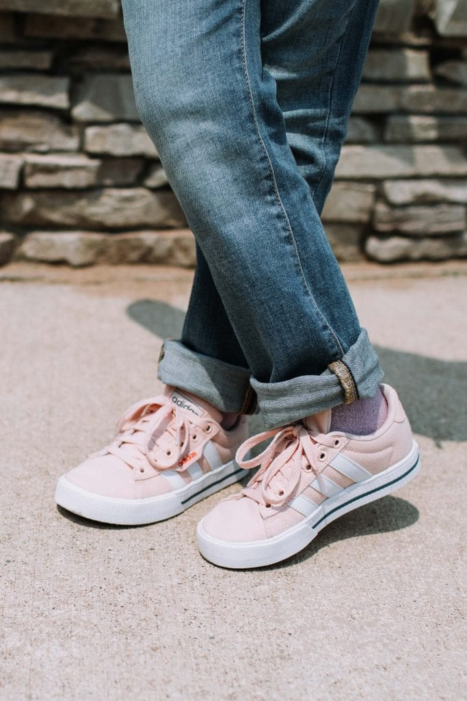 We found these camo Crocs for O that actually stay on (& don't hurt his feet) + these adorable pink(!) Adidas sneakers for G (that she loves) from DSW.
