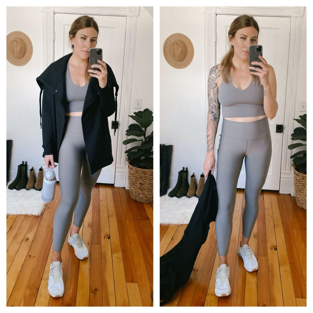 Alo makes some of my favorite workout gear, and these gray/silvery pieces are no exception (available in bright pops of color, too!). They are a fabric all of their own and nothing like I've tried elsewhere -- super soft while also very shaping.
