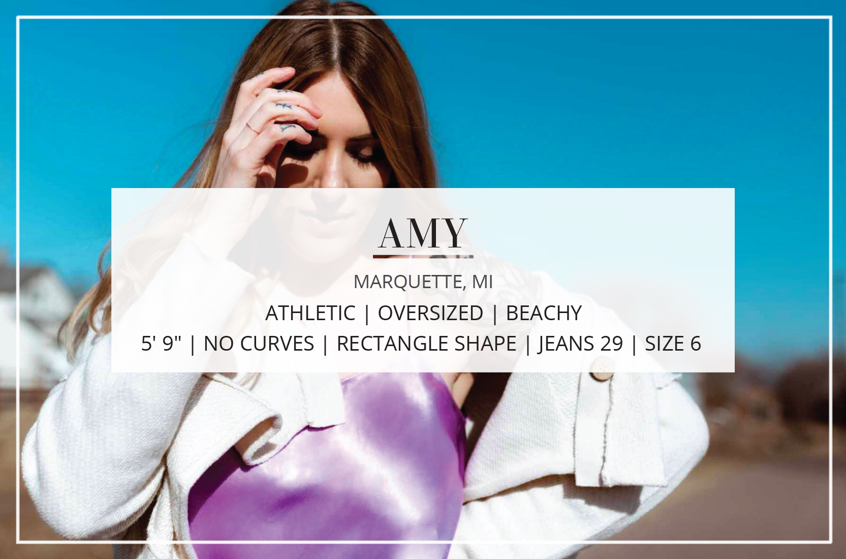 A photographer & style influencer at The Mom Edit, Amy's obsessed with all things beachy, oversized + athleisure. She's also a new mama & a tall gal.