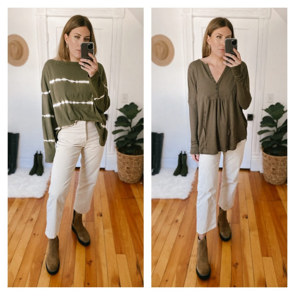 I've got a thing for the color green, and while the Free People henley is such a great basic to have in your closet (multiple color options perfect for the season), it's this All Saints oversize long sleeve that did it for me.