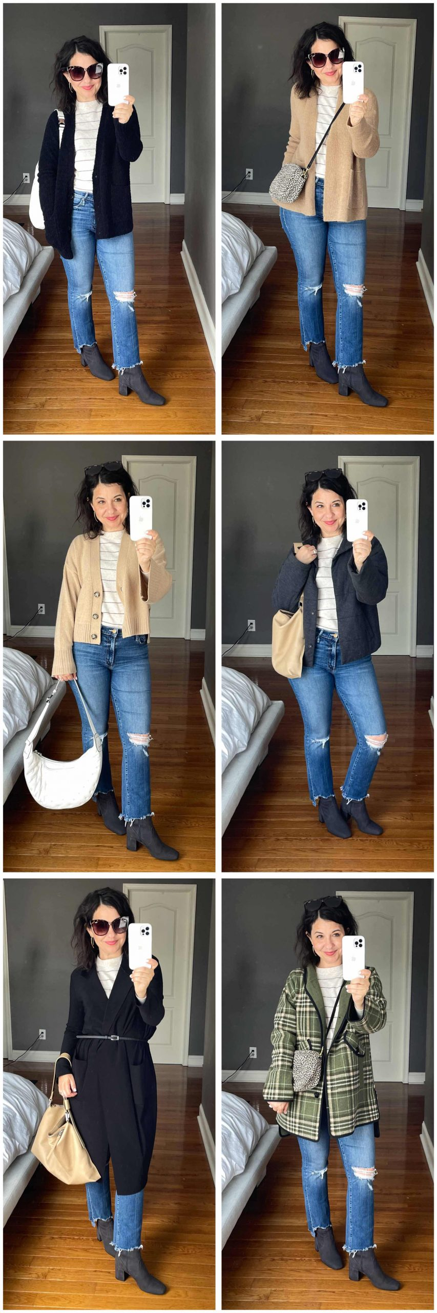 Found: the base outfit I'm wearing on repeat. Neutral stripes (think grays & beiges), good jeans + gorgeous weather-friendly, fancy-schmancy boots.