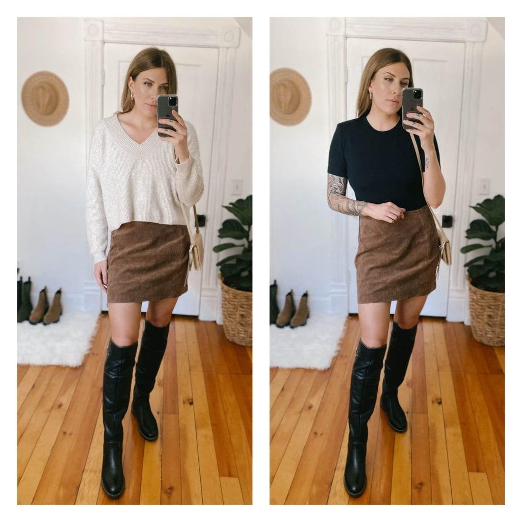 This suede skirt fits perfectly, but it is designed with very forgiving material that I think would have worked in either size. Honestly, this makes me want to try wearing more skirts now.