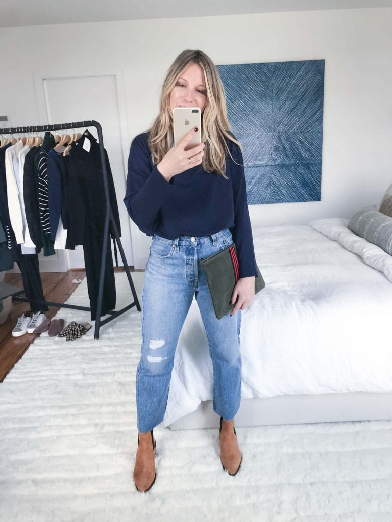 I'm still not over my beloved Levi's 501s. And this light wash is perfect. Like always, size up one (and yes ...I cut the hem off of these jeans as well).