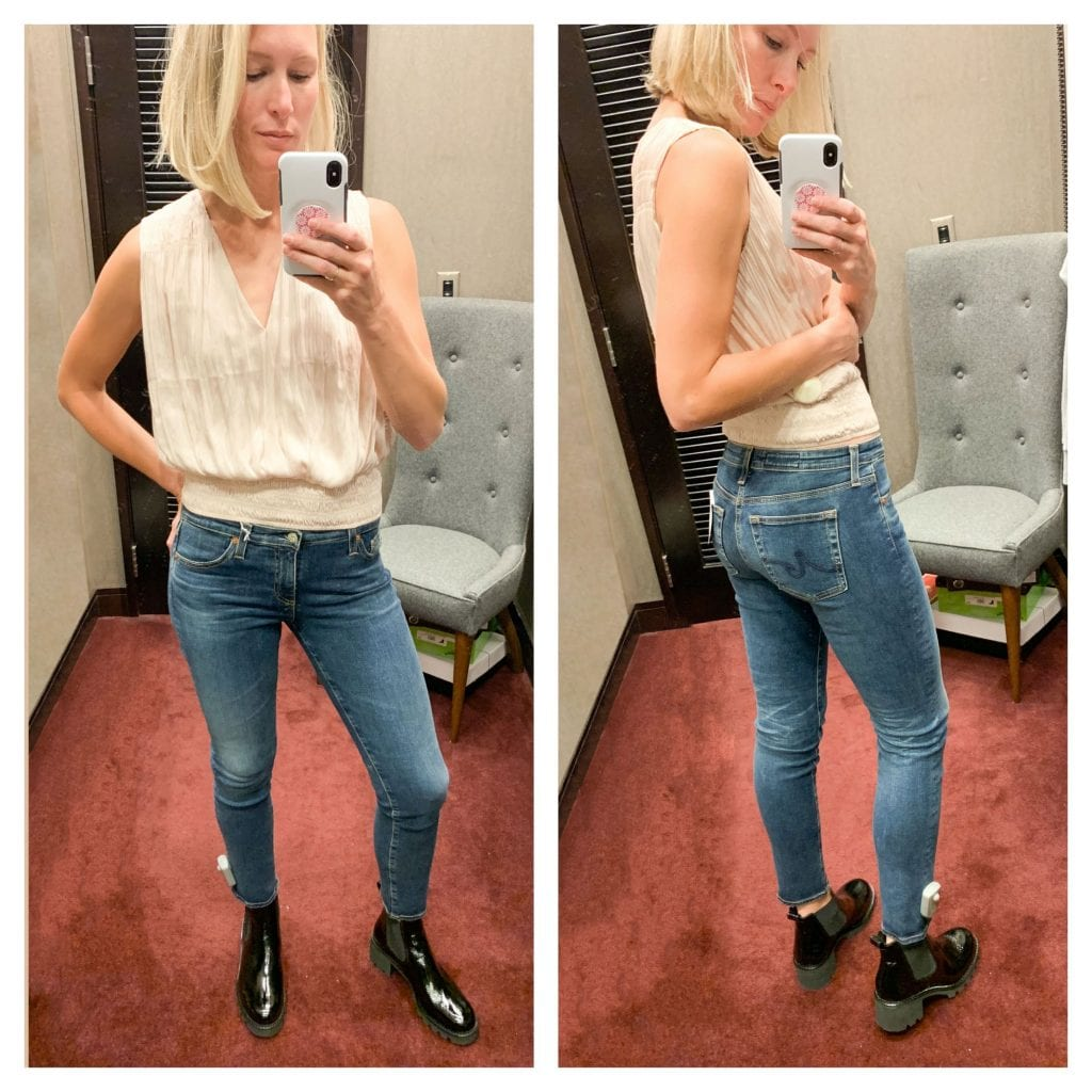 Another shocker was these AG jeans. I tried them on just to say I had tried them on and then...OKAY. I see you. I see you with your unique wash, perfect length for all of the statement booties (Paul Green, goodness, you slay) and slightly lower waist.