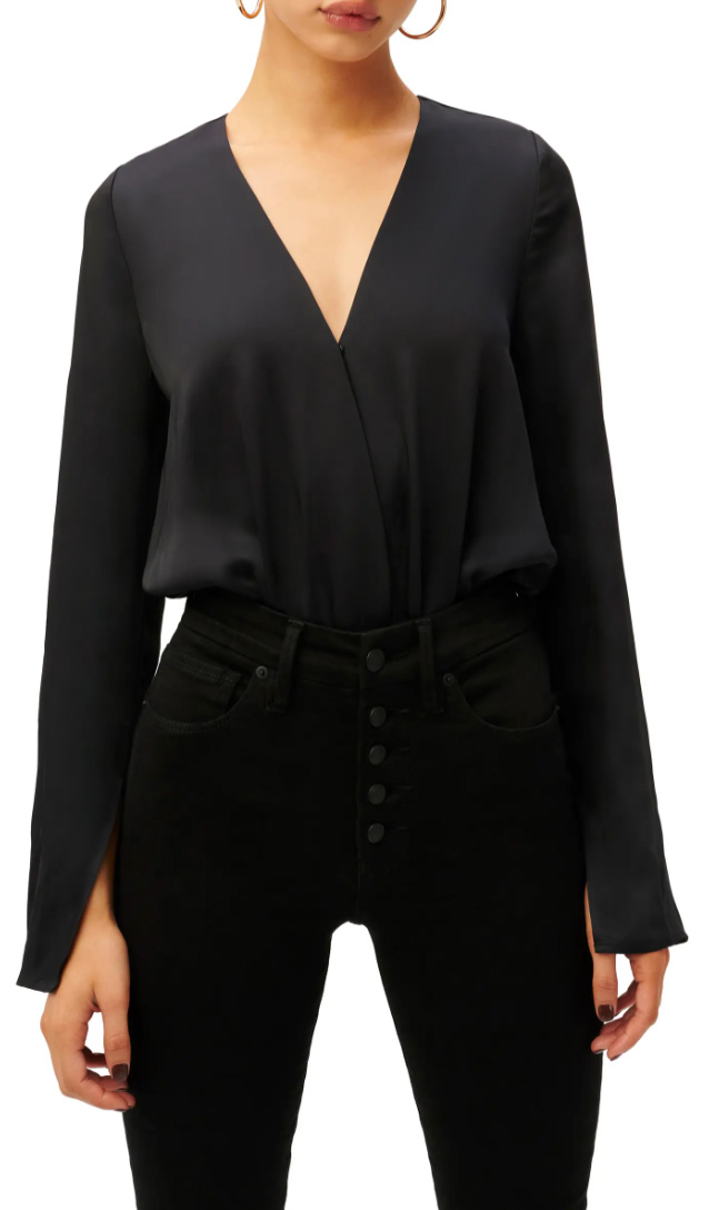 This chic, satiny, faux-wrap bodysuit is a great addition to any wardrobe. Whether it's the weekend or a workday, this versatile and polished top goes with everything.