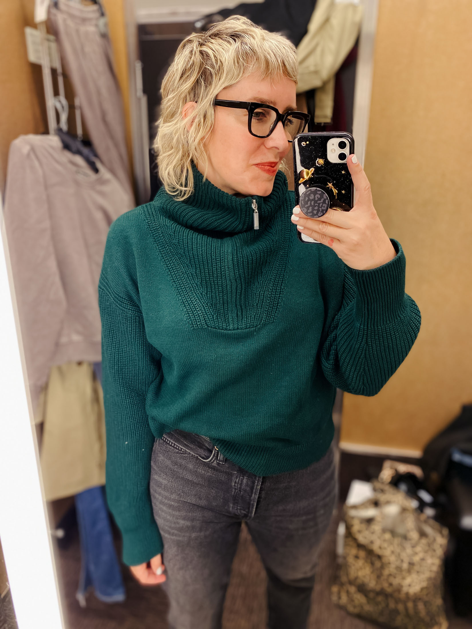I'm stunned by this La Ligne sweater & its cottony softness. Definitely keeping forever. I like it best zipped all the way up. TTS for a little bit of a slouchy fit.