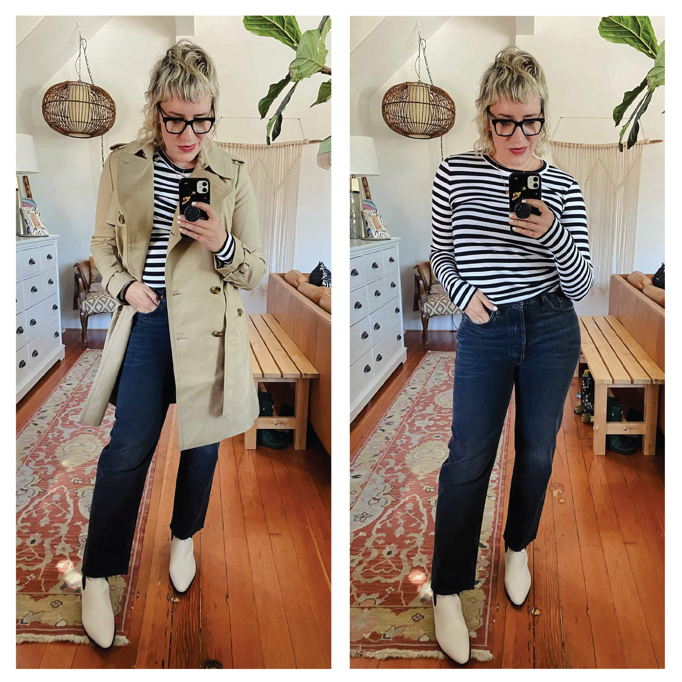 First honorable mention item is the cute under $20 Nordstrom brand ribbed LS striped tee I have on. It's super-soft, great for layering and again, totally me.