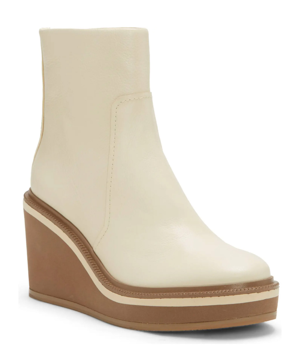 These white Chelsea-inspired platform wedge booties by Louise Et Cie are one of my absolute favorite boot styles from the sale this year. I love the modern and minimal style and the sporty striped platform detail.