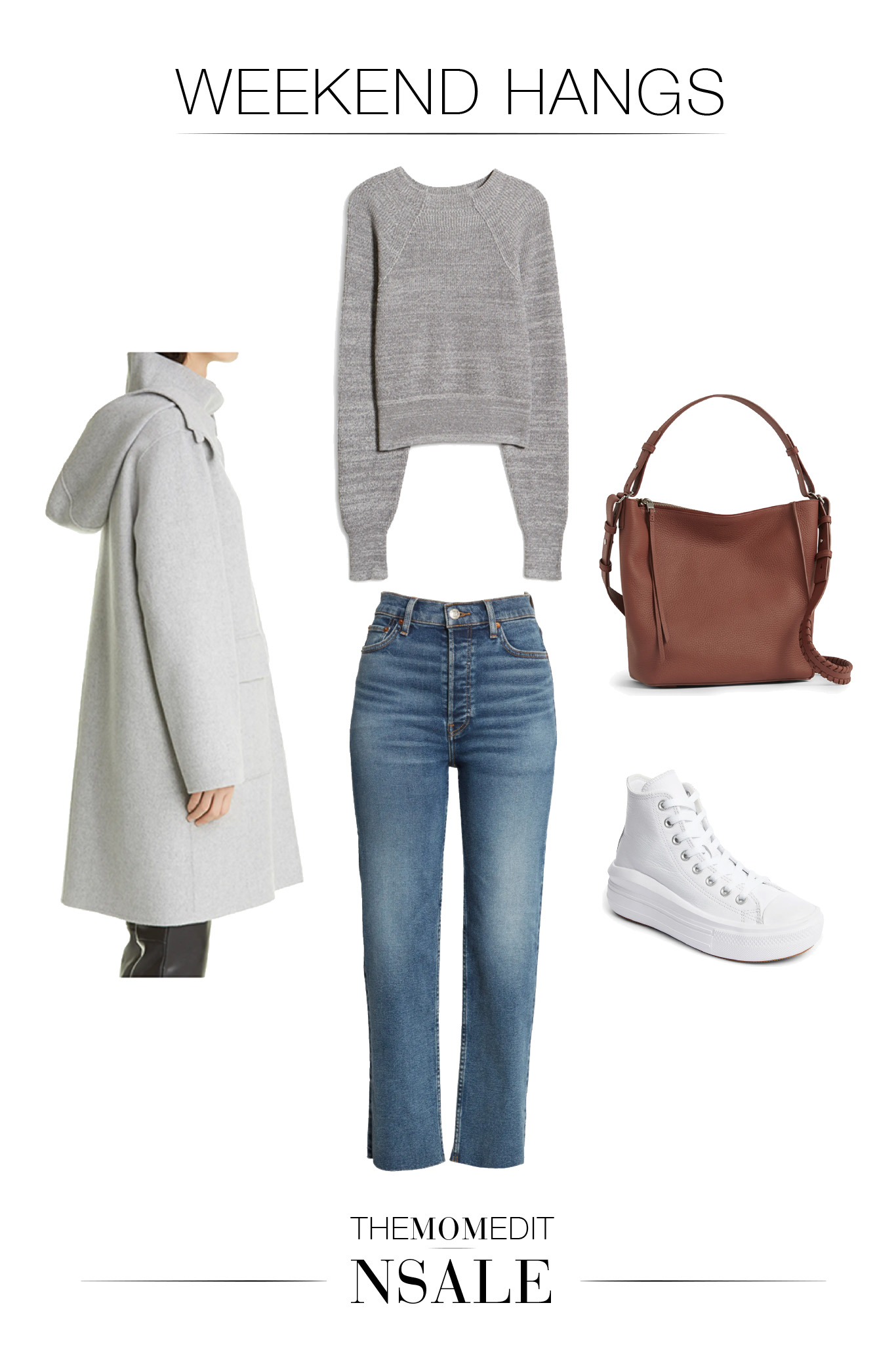 A capsule wardrobe featuring the gray Theory wool coat. Surprisingly, the outfit ideas are less neutrals, more color. We call this capsule wardrobe: The Girly Minimalist.