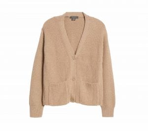 This 100% cotton v-neck cardigan from French Connection looks great! I would wear it the exact same way I wear my fancy cardigans.