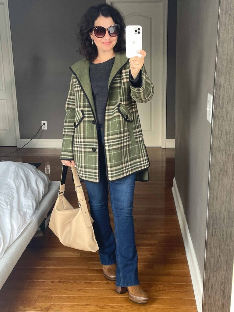 This green jacket feels a little more playful, isn't quite as oversized, and I adore the trim, buttons, and pocket detailing.