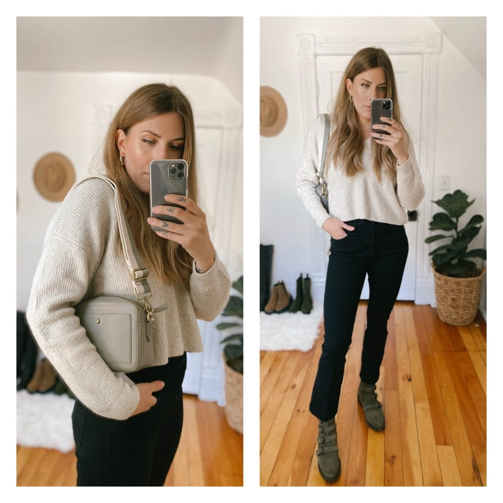 Another sleeper hit is this sweater from Open Edit, it has the perfect cropped length that pairs well with high-waisted bottoms, and it kept my body looking long with the cropped pants!