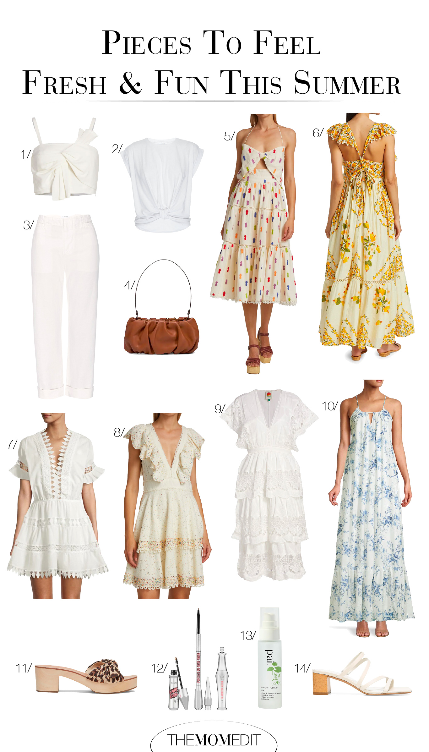 For summer, I gravitate to white clothing & breathable fabrics. Think: pretty ivory dresses, white trousers & classy tops in cotton + linen.