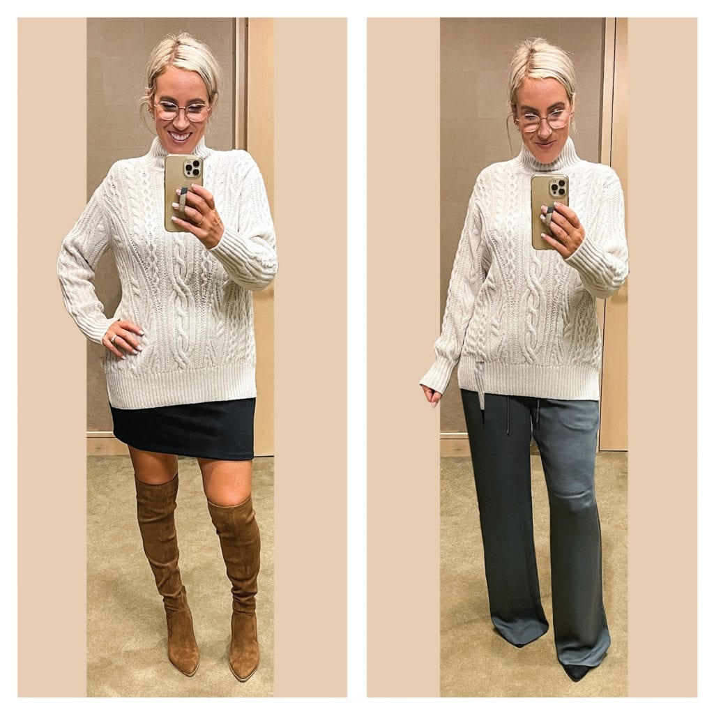 The cashmere cardigan from Club Monaco + the Merino Wool sweater from VINCE will be my go-tos. They're super high-quality, soft, comfy + go with all the things.