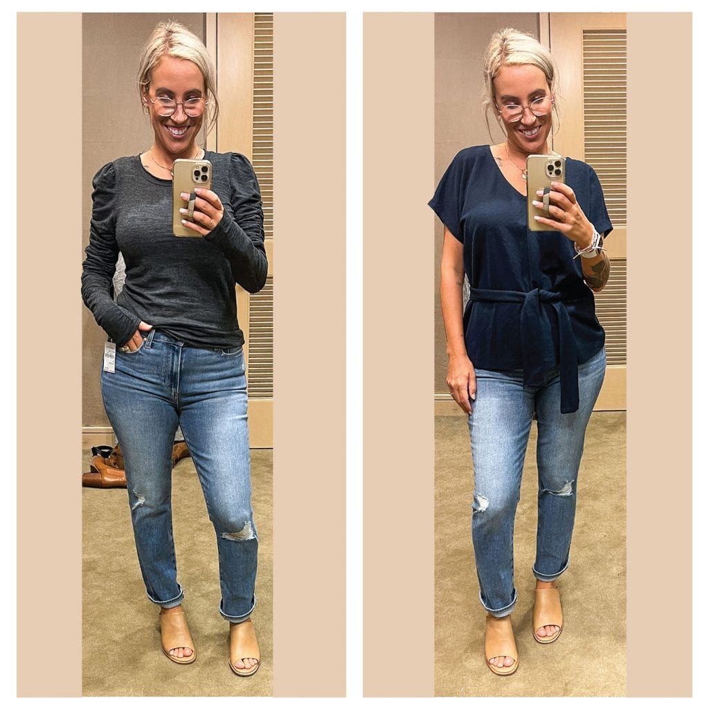 This Free People top is perfect for balancing out bigger hips/booties. I love the shoulders & longer sleeve length. The from Club Monaco top is perfect for work dressing up jeans (& hiding cleavage!).