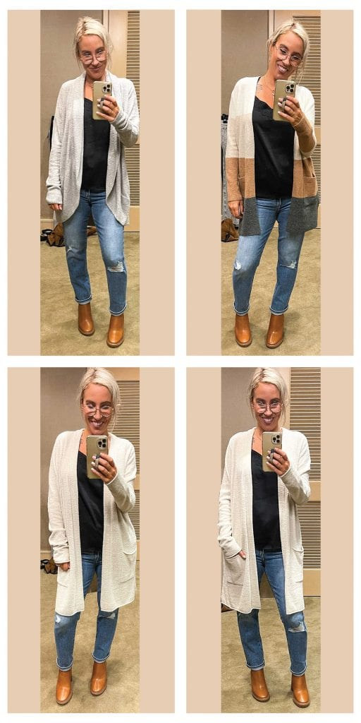 Love the color-blocking on this Madewell Colorblock Cardigan (xxs, also in plus sizes)! It's super-soft, + I love the longer length… I'm glad I tried the smaller size because I liked the shrunken fit.