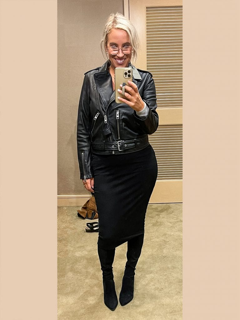 """This is SUCH a """"me"""" outfit, I can't wait to wear it out somewhere. I love that I can actually zip up that ALLSAINTS jacket + when paired with the Vince Camuto skirt I just feel sexy & a little bit B.A. (and of course – still comfy.)"""