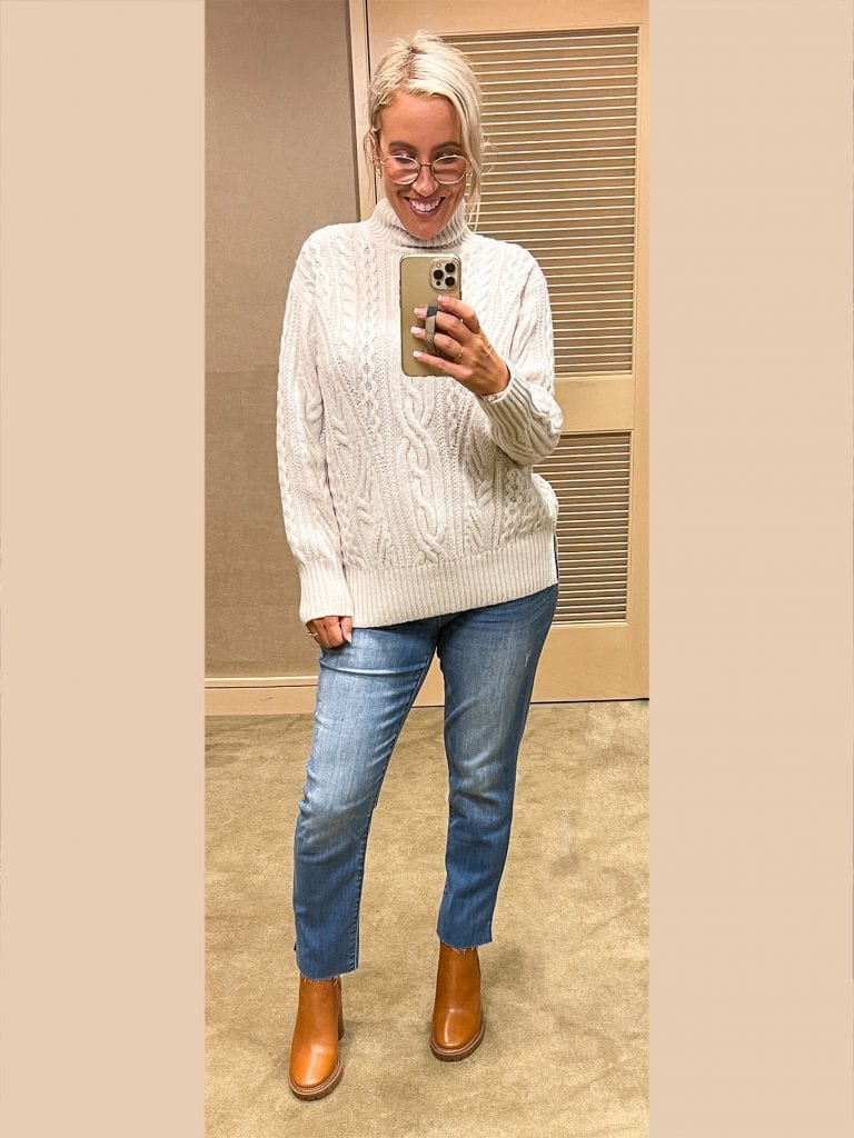 This VINCE sweater–I LOVE this sweater. I'm wearing it with the Wit & Wisdom jeans (that also came home with me) that help to flatten out the tummy area & are super comfy.