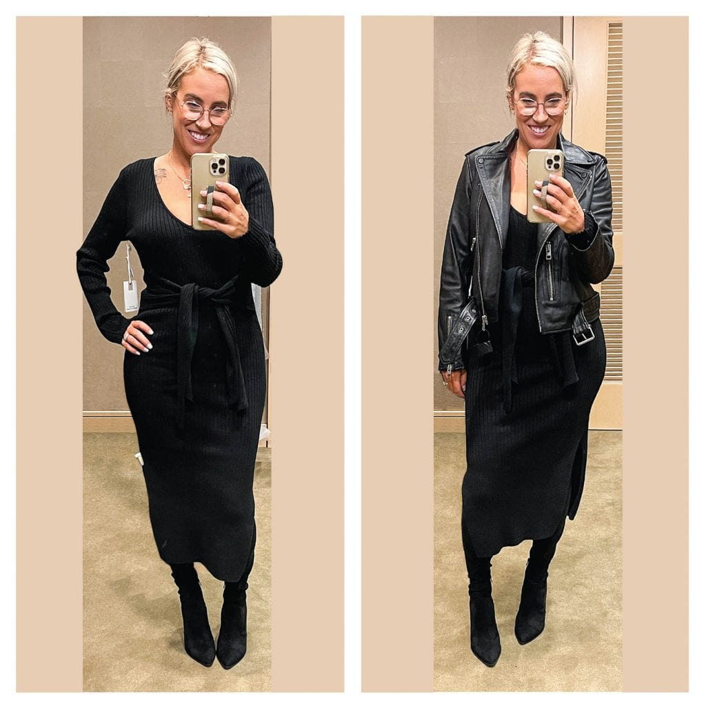 I have the sleeveless version of this black dress. The tie-waist is so good for showing off curves w/out highlighting a pooch + I love the longer sleeves! (The double side slits make for easy movement too.)