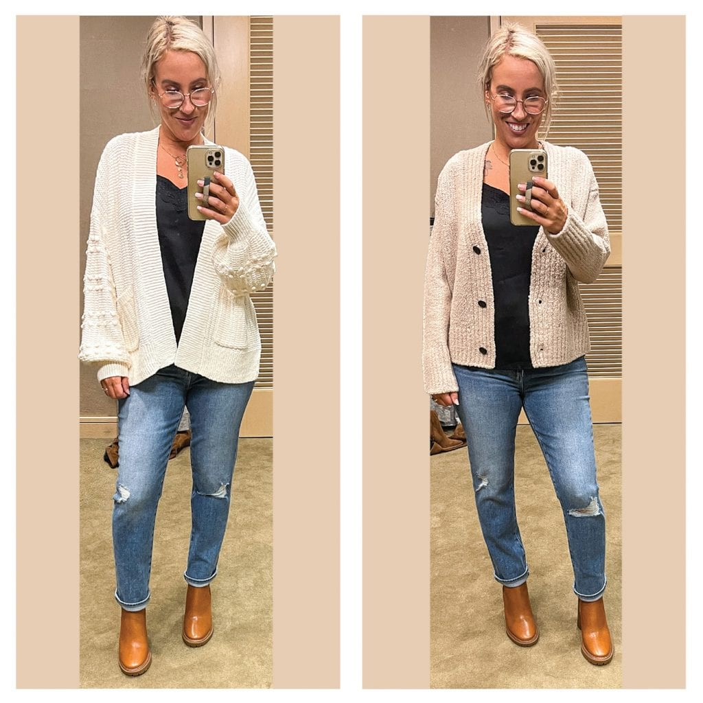 This VINCE cardigan (in black or camel) is the perfect layer for cool fall days, over t-shirts or sweaters when it's really cold. It's like a coat but super cozy and comfy.