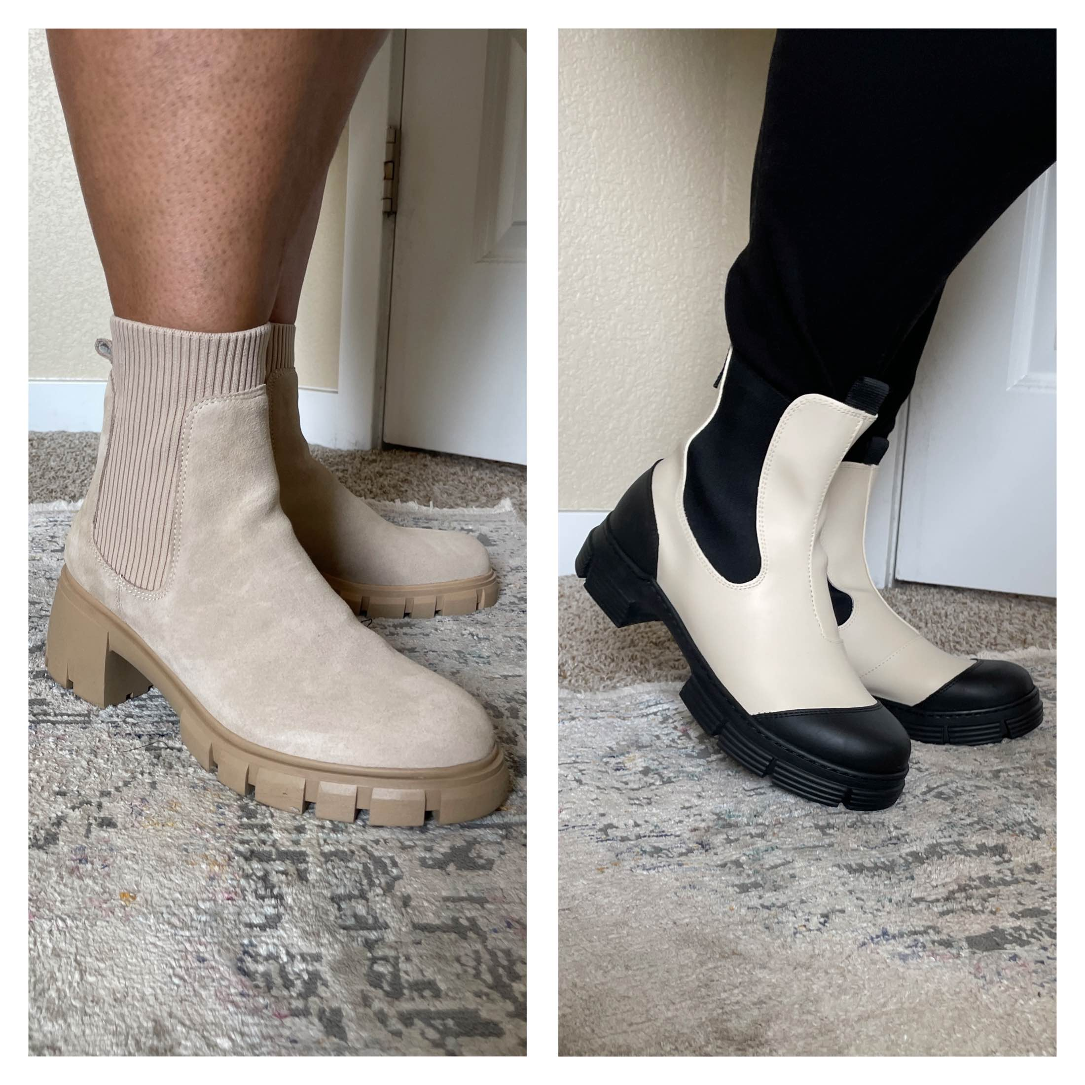 The Steve Madden boots on the left give me Balenciaga-sock-sneakers-meet-Prada-lug-sole-boots vibes.. The other pair of boots on the right are GANNI & made out of recycled materials.