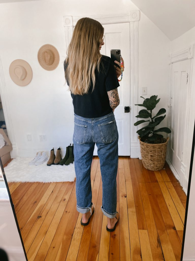 I was grabbing my fav pair of AGOLDE '90s jeans when it hit me: these were...uh...kinda, sorta like the Target high-rise straight leg pair.