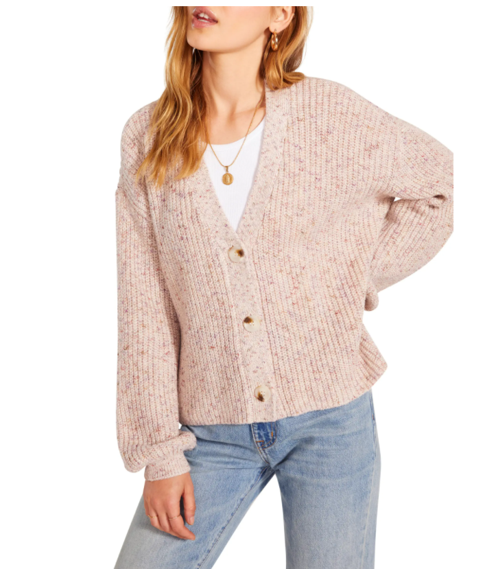 The BB Dakota Vigo Speckled Shaker Stitch Cardigan isn't your typical black, brown or white cardigan, but it's still neutral enough to mix and match with other tops in your closet.