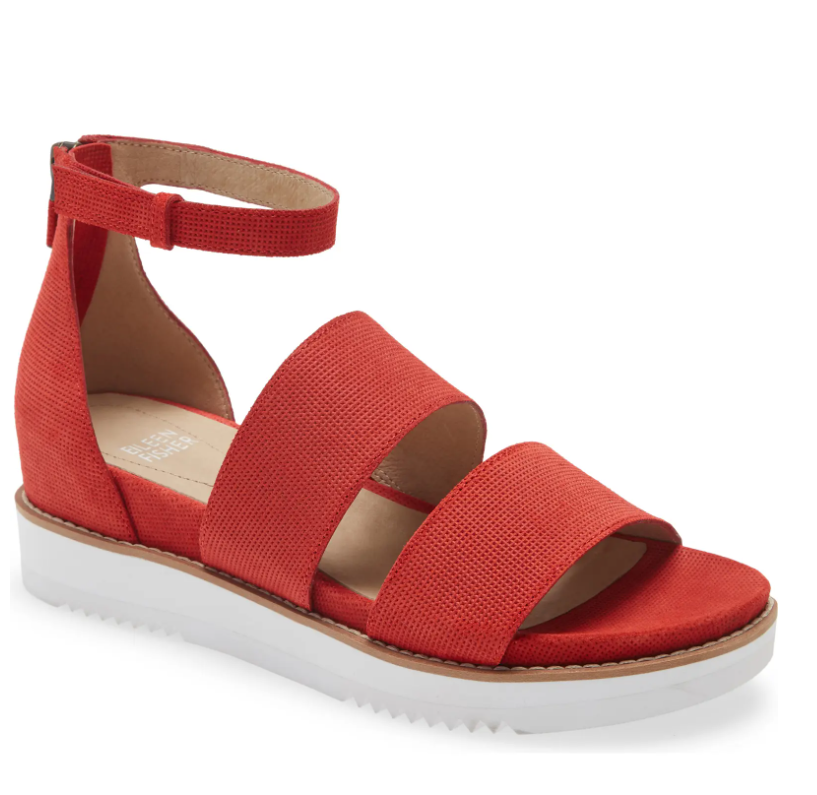 These EILEEN FISHER Keno Platform Sandals provide a little bit of height and come in a ton of colors, but I'm drawn to this orangey-red pair.