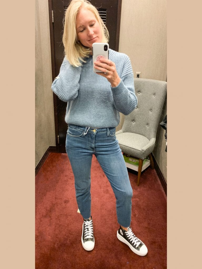 These FRAMEs are a nice relaxed, soft jean...a pair I'd wear with all of the pullover sweaters, tees, sneakers and booties. Also, a cozy shirt jacket (it has a warm lining) works perfectly with the wash.