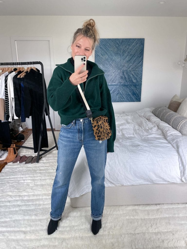 A clear winner in the Nordstrom Anniversary Sale is the La Ligne Half-Zip Sweater in a gorg emerald green. A fresh, modern silhouette. An amazing drape. All cotton.