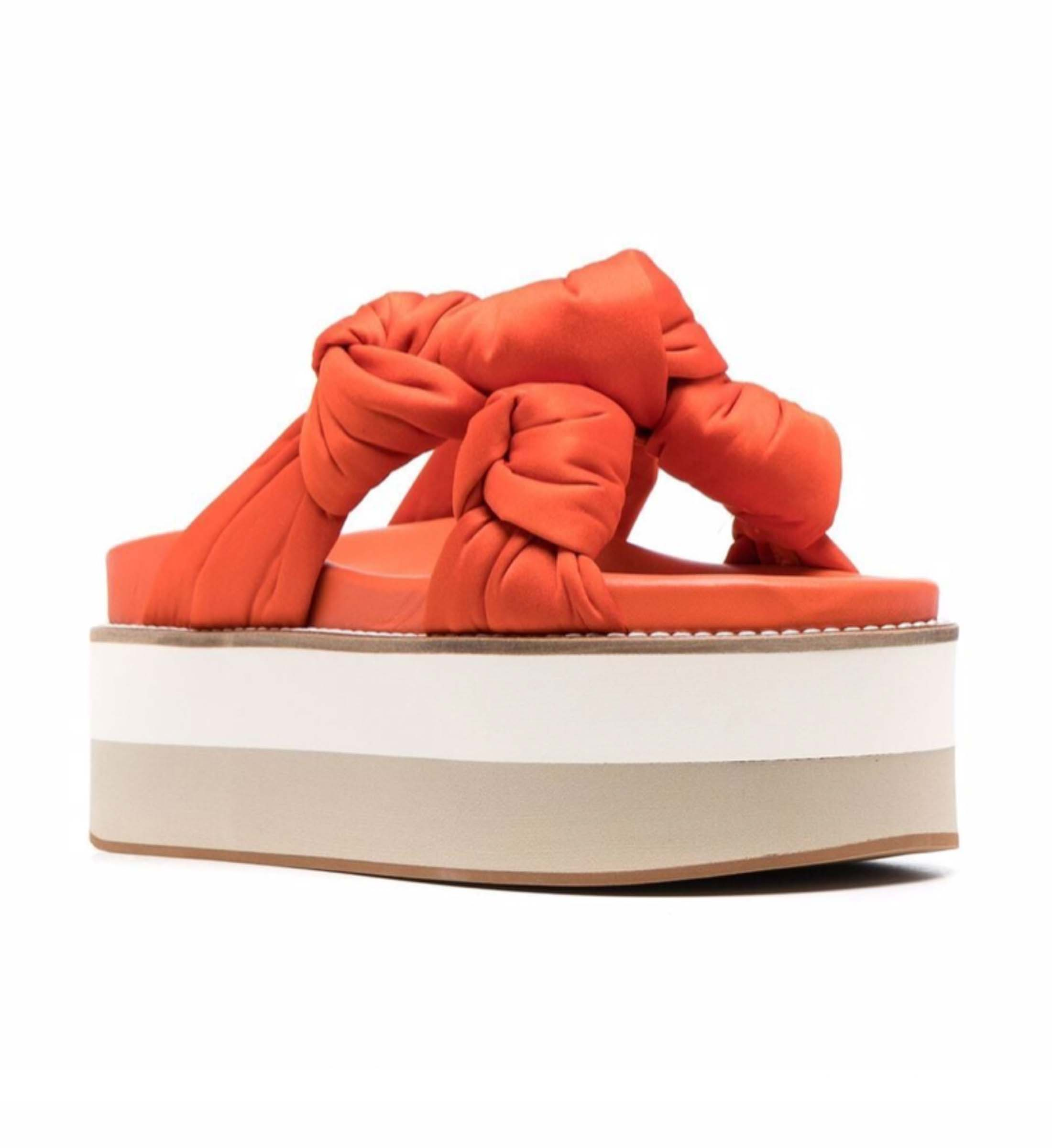 OMGEEEE I am in love with these orange Satin Knotted flatforms from GANNI.