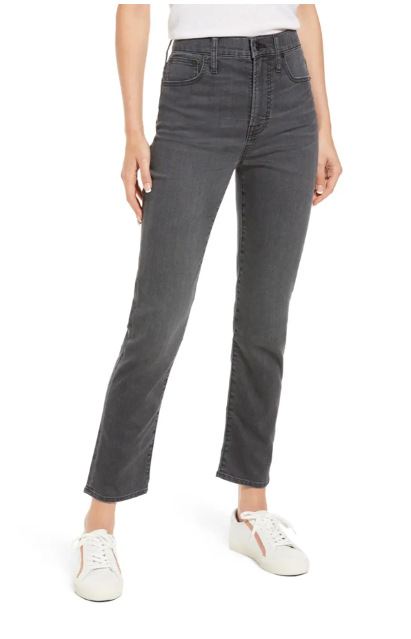 You can't beat Madewell when it comes to affordable and flattering denim. I'm loving these high-waisted, faded black, vintage- inspired jeans!