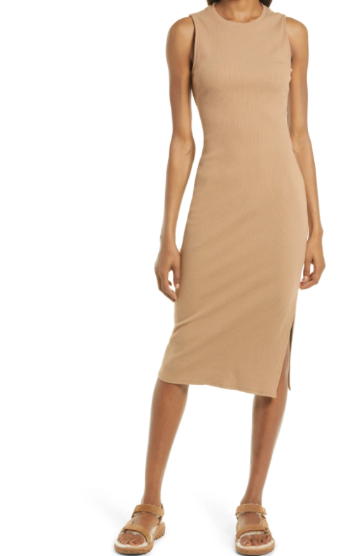 This Treasure & Bond Rib Cutout Midi Dress is ideal for the perpetually warm weather crew; it's made out of cotton, sleeveless, AND has a cute little mid-back cutout for ventilation (or style, you choose).