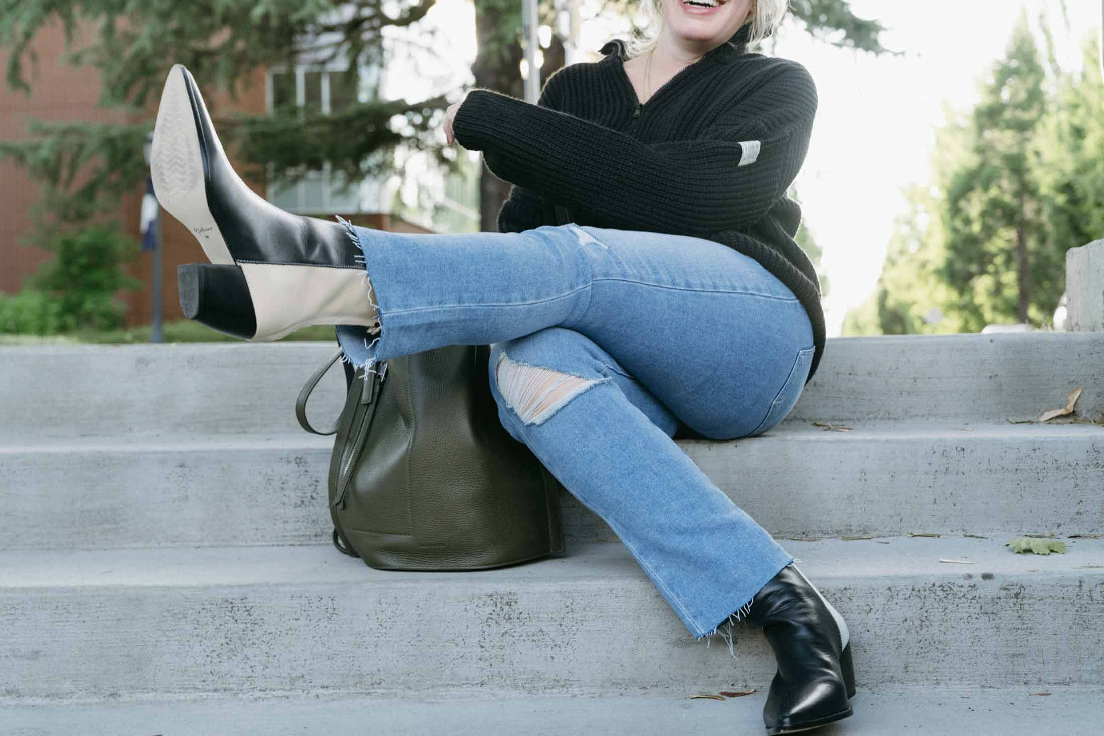 This BDG fisherman sweater looks super cute with jeans + rad color-blocked boots...and then in a comfy athleisure moment, too. Versatile, cozy AND reasonably priced...