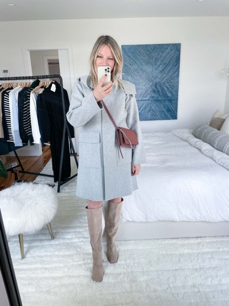 This coat, gang. THIS GRAY COAT. It's made from wool and cashmere, and has the most amazing drape. It's super-soft (not even a hint of itchiness, even on bare skin) and is simply...delicious.