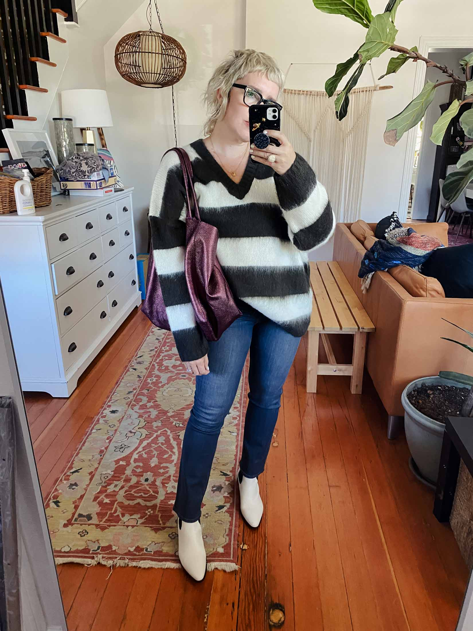 Throw any gray jeans with this look or the PAIGE joggers I love, plus the white FRAME boots and the rad Kurt Geiger bag that is SO soft.