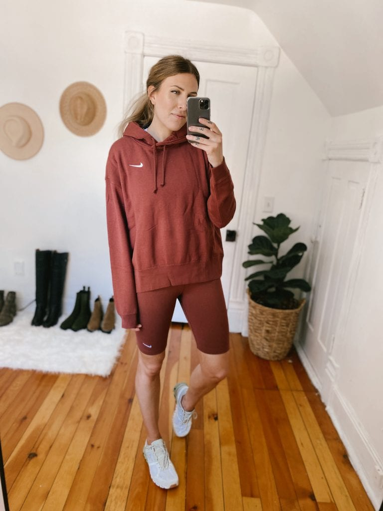I am a longtime fan of Nike's essentials line -- the crewneck is on heavy rotation in my closet, so I knew I had to give the hoodie a try. It's of course very soft, and lighter than you would imagine!