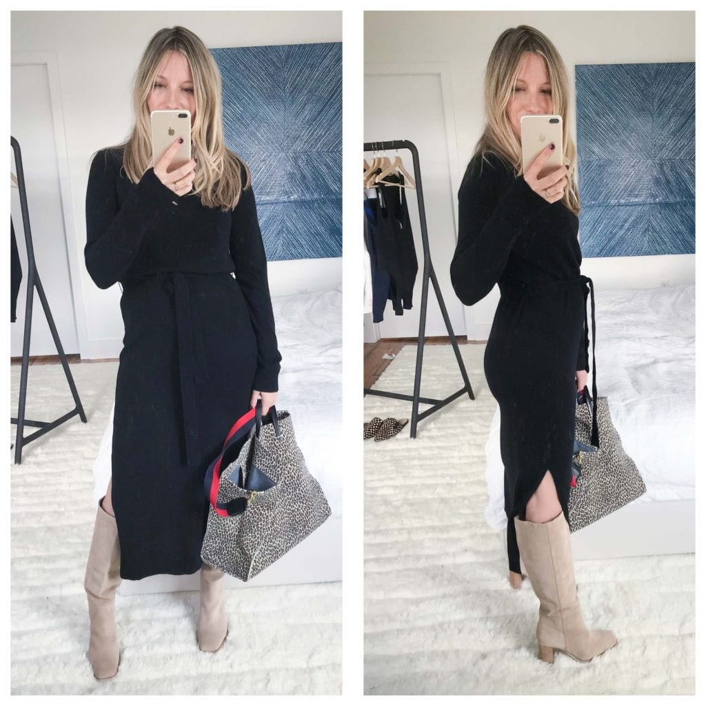 This Theory cashmere dress is so warm and cozy...but sexy, too. I love that the dress looks fitted, yet is a far cry from bodycon.  The slit is also a nice touch -- shows off a great pair of boots.