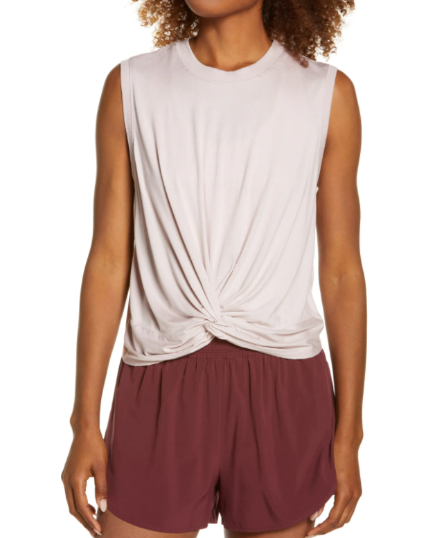 This Zella Twist Front Tank is a similar, under $25, option plus a little longer in the front (which mama appreciates).