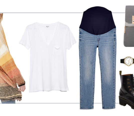 We styled 7 outfits starring Madewell's nursing-friendly white tee & comfy pants. A few baby-friendly accessories later & we have a week of styling a white V-neck t-shirt for postpartum & nursing mamas.
