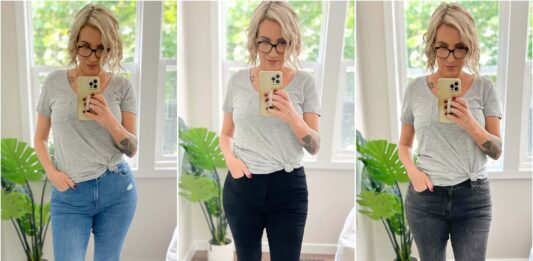 """I'm obsessed with the new FlexX jeans from Express! Made with """"ultra hyper stretch"""" + a flexible waist size. They come in skinny, cropped & flare fits, mid-, high- + super-high rises & multiple lengths for the perfect fit."""